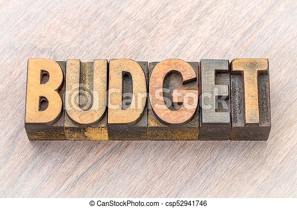 budget word abstract in wood type - csp52941746