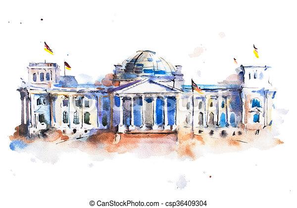 Budova Barva Vodova Berlin Kresleni Reichstag Budova Barva