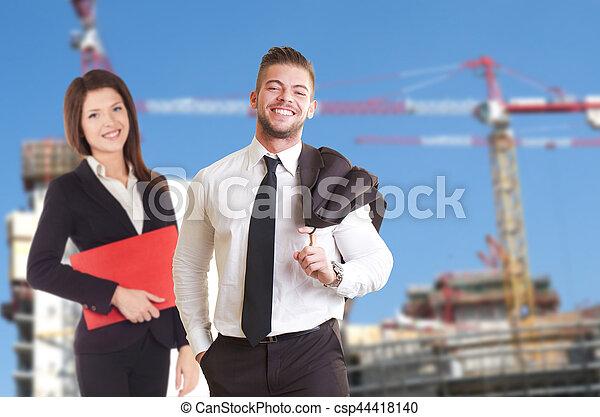 budowa umieszczenie, handlowy zaludniają - csp44418140