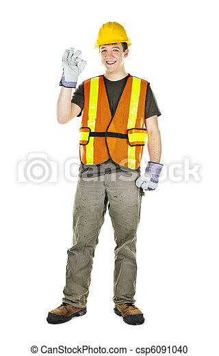 budowlaniec, szczęśliwy - csp6091040