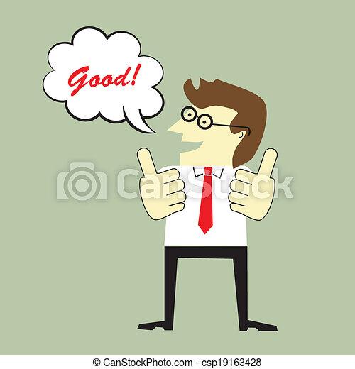 Hombre de negocios dando pulgares arriba y diciendo bien - csp19163428