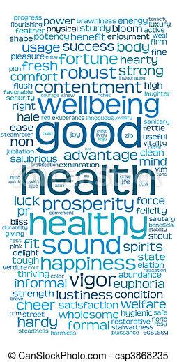 bueno, palabra, etiqueta, salud, o, nube - csp3868235