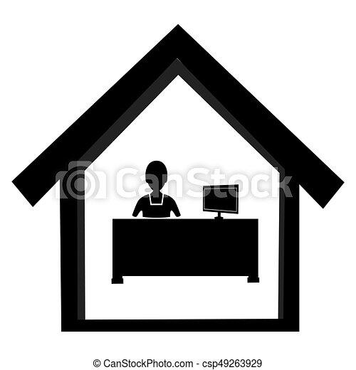 buero abstrakt arbeiter schwarzer schreibtisch wei es. Black Bedroom Furniture Sets. Home Design Ideas