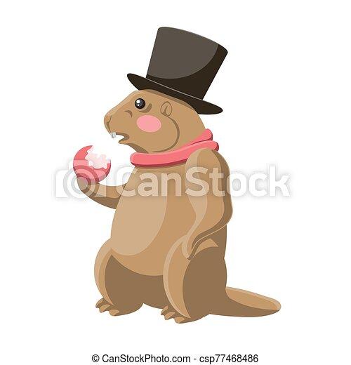 bufanda, blanco, marmota, aislado, sombrero, come, vector, manzana, image., fondo. - csp77468486