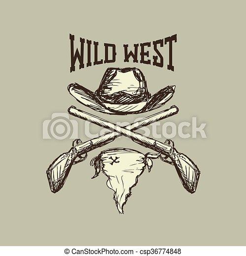 Sombrero y bufanda, pistola, - csp36774848