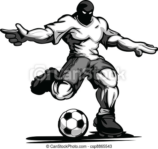 Buff Soccer Player Kicking Ball - csp8865543