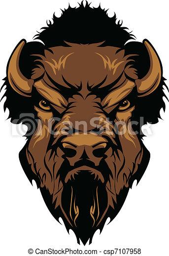 Buffalo Bison Mascot Head Graphic - csp7107958