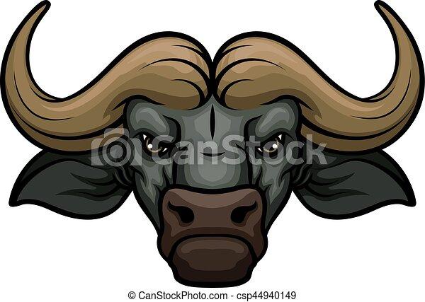 3832220b8 Buffalo head muzzle vector mascot icon. Black buffalo vector mascot ...