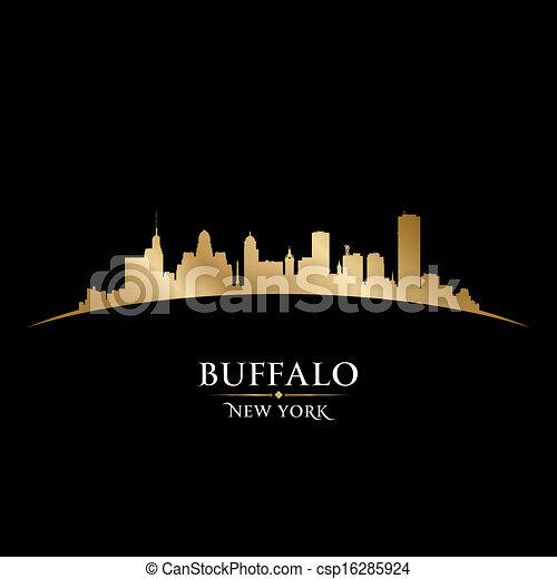 Buffalo New York city skyline silhouette black background - csp16285924