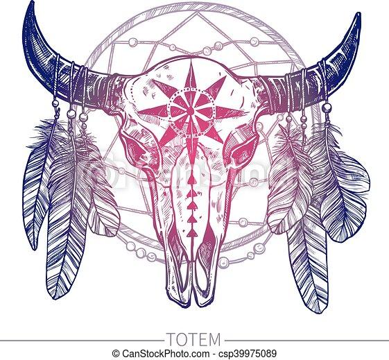 Buffalo Skull With Dreamcatcher - csp39975089