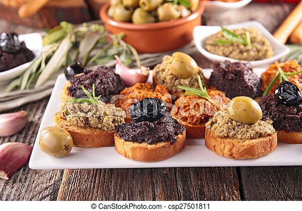 buffet food,canape with tapenade - csp27501811