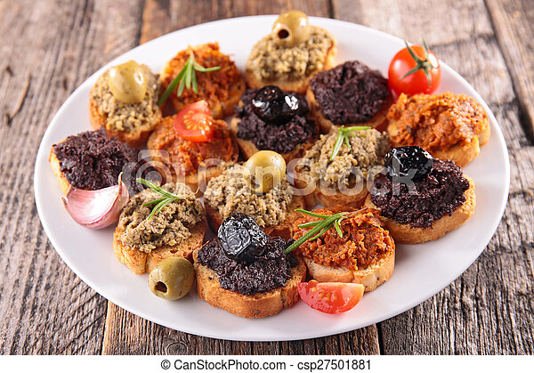 buffet food,canape with tapenade - csp27501881