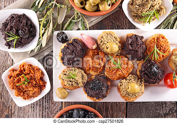 buffet food,canape with tapenade - csp27501826