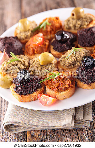 buffet food,canape with tapenade - csp27501932