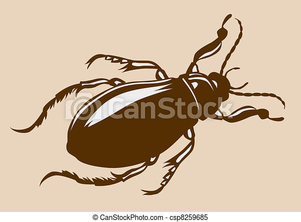 bug silhouette on yellow background - csp8259685