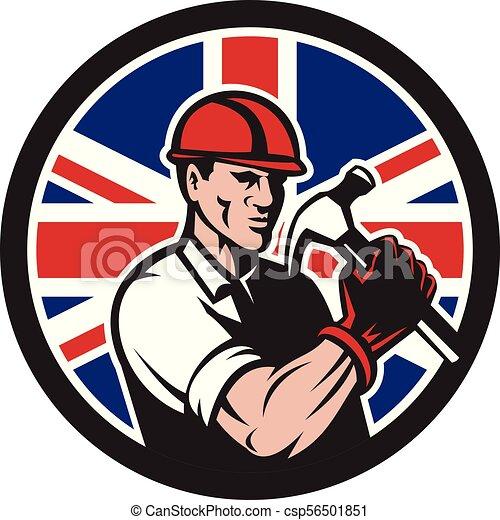 buiilder-carpenter-hold-hammer-frnt-CIRC UK-FLAG-ICON - csp56501851