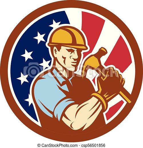 buiilder-carpenter-hold-hammer-frnt-CIRC USA-FLAG-ICON - csp56501856