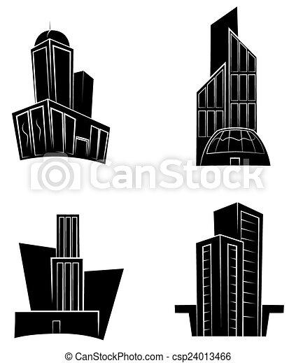 buil, nero, silhouette, collezione - csp24013466