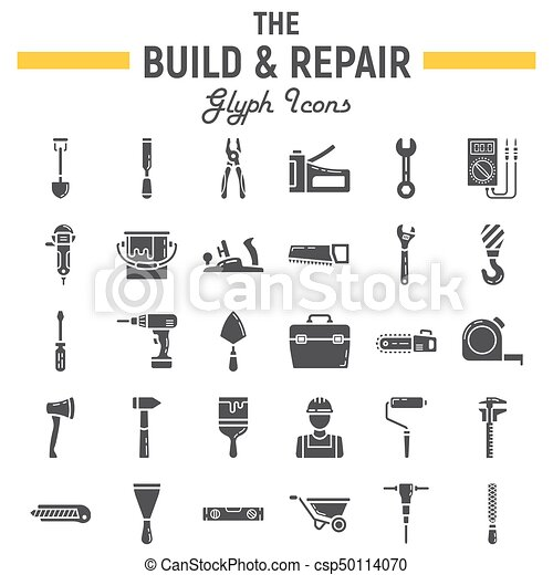Build And Repair Glyph Icon Set Construction Symbols Collection