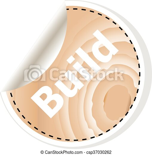 build word on vector business wooden app icon isolated on white background. vector illustration - csp37030262