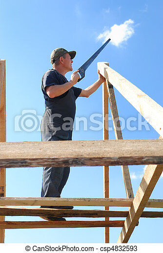 builder at roofing works - csp4832593