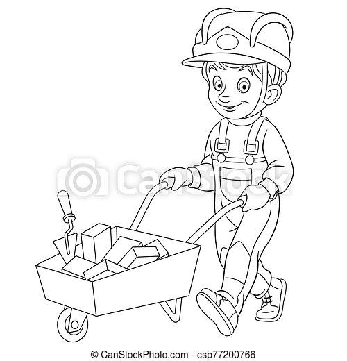 builder carrying bricks - csp77200766