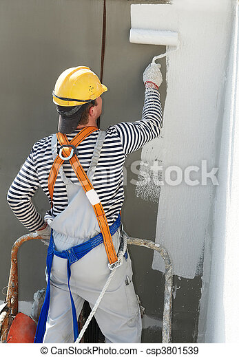 builder facade painter at work - csp3801539