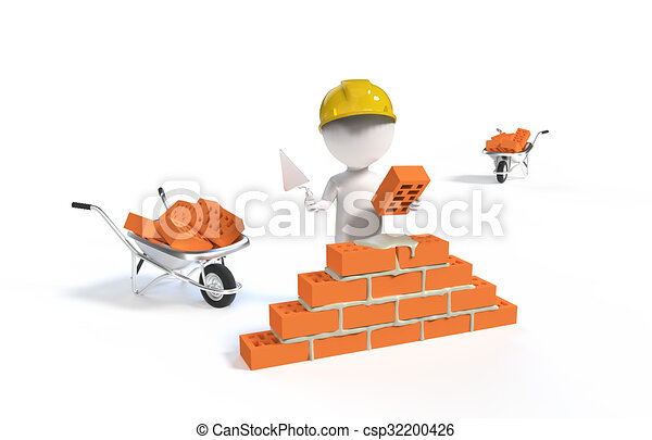 Builder in the helmet with a shovel and bricks - csp32200426
