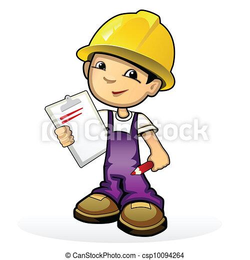 Builder in yellow helmet - csp10094264
