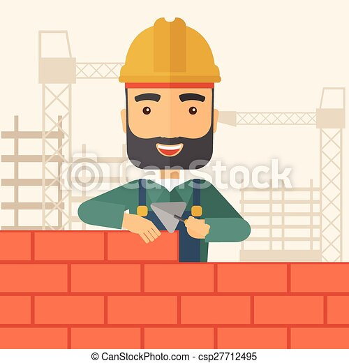 builder man is building a brick wall a smiling builder wearing a