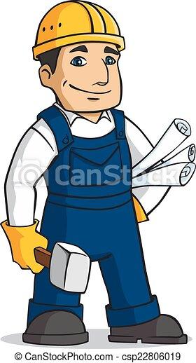 builder man in cartoon style with hammer and plans vector clip art rh canstockphoto com builder logos clip art building clip art