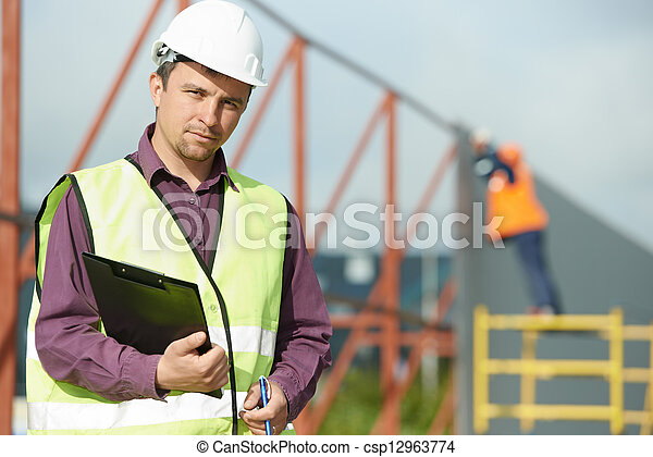 builder manager worker at construction site - csp12963774