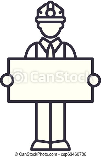 Builder with a sign line icon concept. Builder with a sign vector linear illustration, symbol, sign - csp63460786