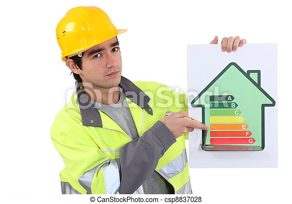 Builder with an energy rating sign - csp8837028