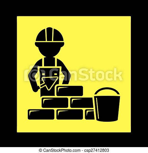 Builder with brick wall icon. Yellow construction icon with ...