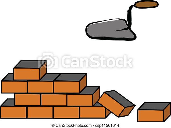 building a brick wall illustration on white vector clip art rh canstockphoto com stone wall clipart free stone wall pattern clipart