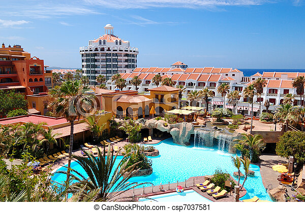 Building And Recreation Area Of Luxury Hotel Tenerife Island Spain