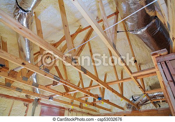 Building Attic Interior Roofing Construction Indoor Wooden Roof