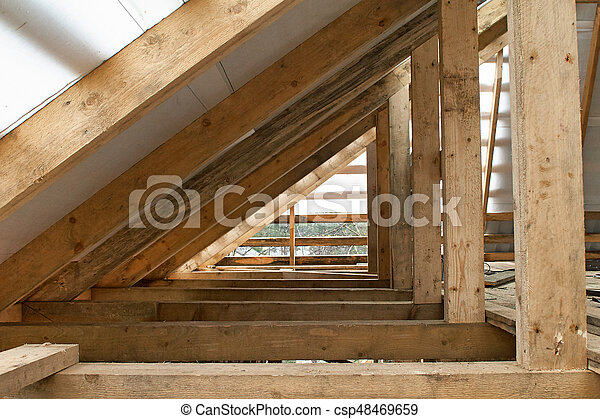 Building Attic Interior Wooden Roof Frame House Construction