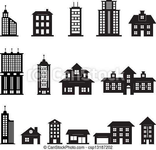 Building Black and White set 3 - csp13187202