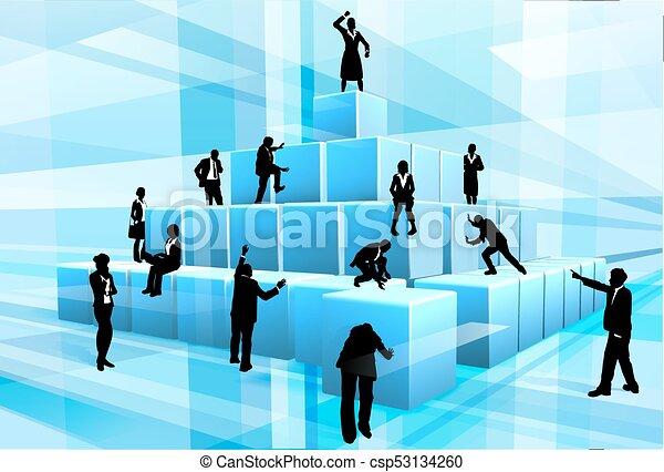 Building Blocks Business Team People Silhouettes - csp53134260