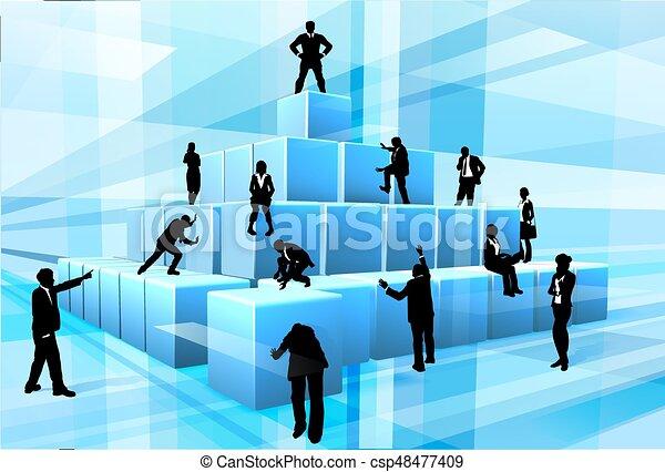 Building Blocks Silhouette Business Team People - csp48477409