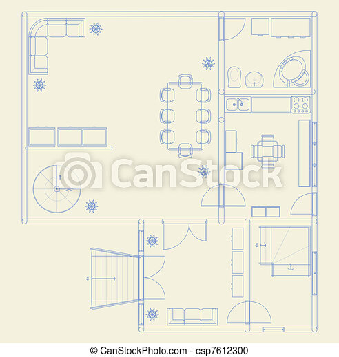 Building blueprint architectural blue prints with furniture building blueprint vector malvernweather Gallery