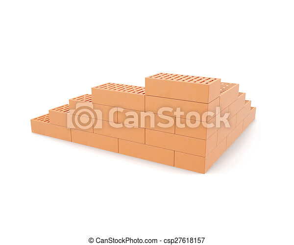 Building brick wall isolated on white background with shadows. - csp27618157