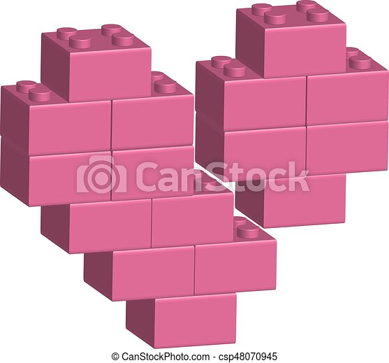 Building bricks in 3D broken heart - csp48070945