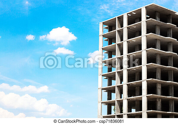 building construction on blue sky background - csp71836081