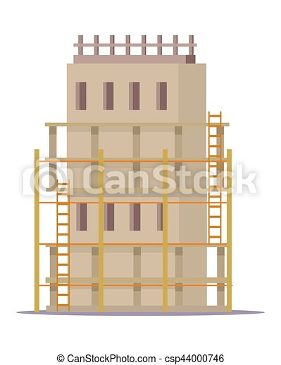 Eps vector of building construction process of cottage Home building process