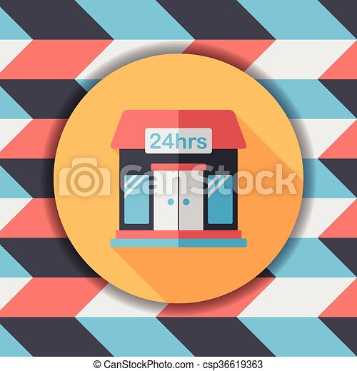 Building convenient store flat icon with long shadow,eps10 - csp36619363