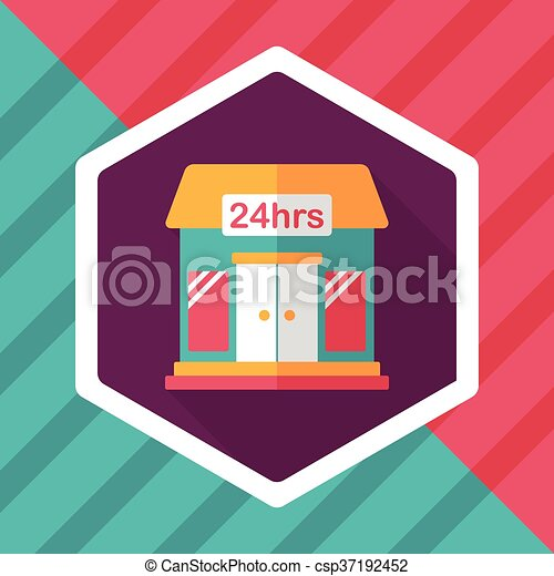 Building convenient store flat icon with long shadow,eps10 - csp37192452