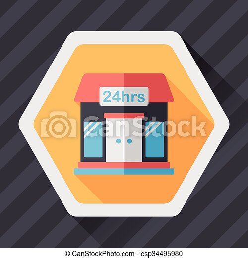 Building convenient store flat icon with long shadow,eps10 - csp34495980